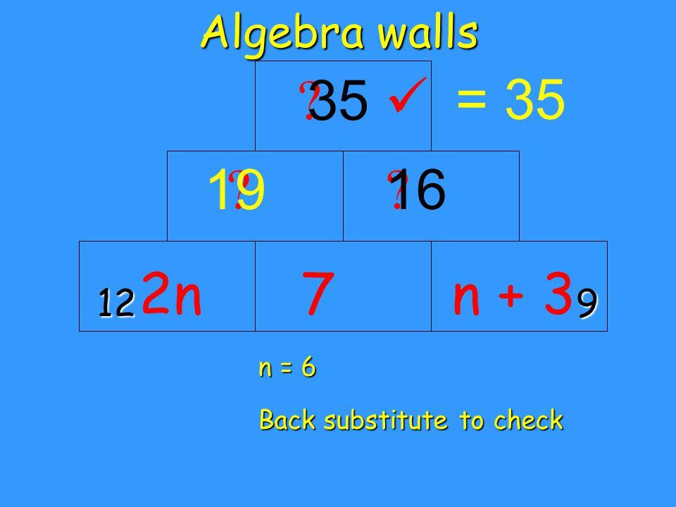 Algebra walls 5 = 42 n = 27 12 n + 5n 26 162n n + 26 = 73= 32 n -16n + 14 n + 26 24 - n3n + 4 4n + 6 = 88 4 - 2n2n + 8 6n + 7 = 33 Solve for n and back substitute to check n = 5 n = 2 n = 5 n = 6 n = 2.5