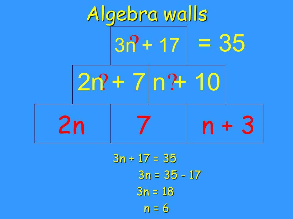 Algebra walls = 35 ? 19 ? 16 ? 35 n = 6 Back substitute to check 9 2nn + 37 12 12