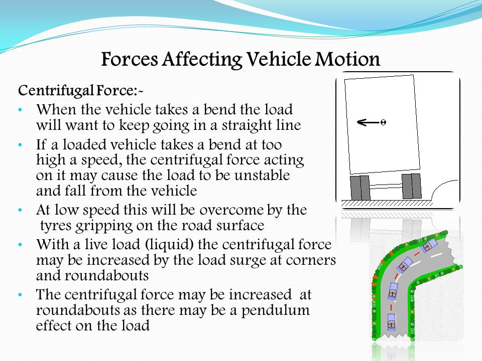 Forces Affecting Vehicle Motion Centrifugal Force:-