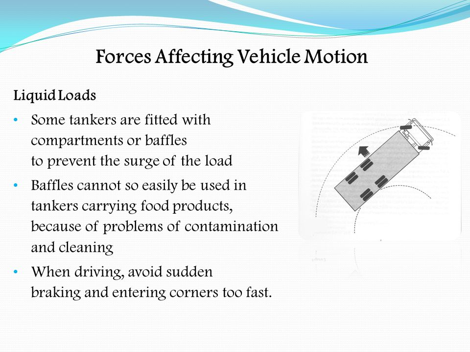 Forces Affecting Vehicle Motion Roll Over Roll over can occur if a bend is taken too fast, or when leaving a roundabout.