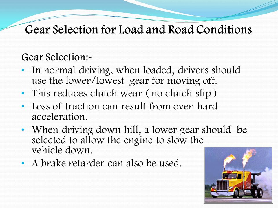 Load Distribution When securing a load the driver needs to consider:- The load being carried Suitability of the vehicle Stability of the load Type of restraints to be used Protecting the load from the weather Prevention of theft of the load Ease of delivery of the load