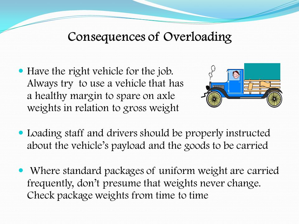Consequences of Overloading If the vehicle/trailer are found to be overloaded on axle, gross or train weights, a TE 160 may be issued under the Goods Vehicles (Authorised Weight) Regs.