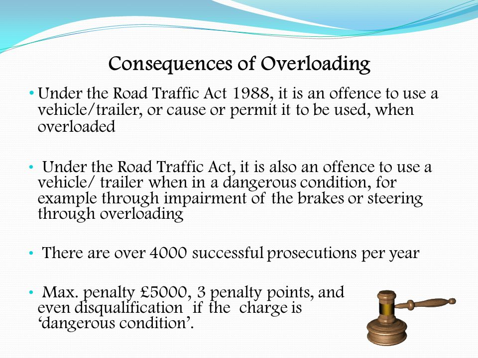 Consequences of Overloading An authorised person (VOSA examiner, authorised police constable or trading standards officer) may require a vehicle or trailer to be check-weighed He may instruct the person in charge of the vehicle to proceed to a weighbridge for such purpose (form GV3) A certificate of weight in the prescribed form must be issued The driver should retain his copy on the vehicle and, if within limits, this will exempt him from further check- weighing with the same load on the same journey