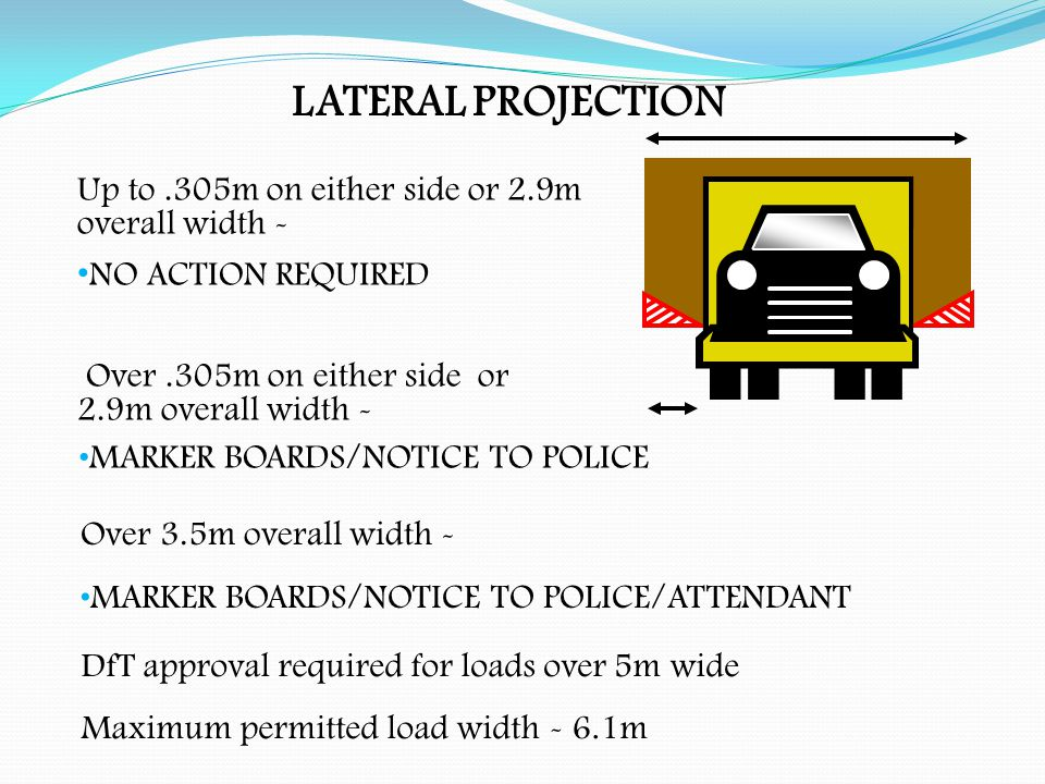 FORWARD PROJECTION Up to 2m - NO ACTION REQUIRED Over 2m up to 3.05m - SIDE/END MARKERS/ATTENDANT Over 3.05m - SIDE/END MARKERS/ATTENDANT/POLICE NOTICE