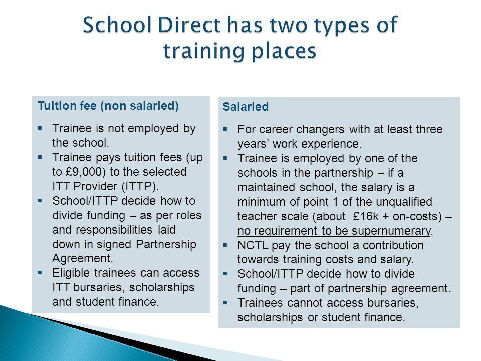 Please consider the handouts  Fee SD Negotiations with each partner  ITTP have a finite pot to distribute of 9K  Issues around maintained and other schools for salaried provision  Recruitment – salaried people will be savvy in looking at what schools have to offer  NO correlation between 1 st Class honours and making a good teacher!