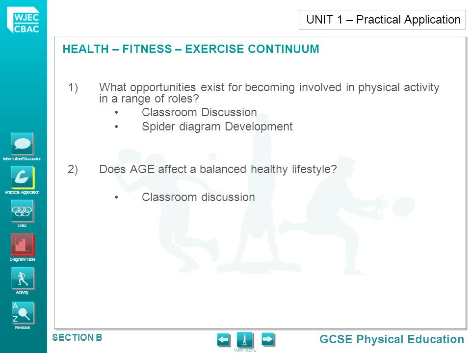 Information/Discussion Practical Application Links Diagram/Table Activity Revision GCSE Physical Education HEALTH – FITNESS – EXERCISE CONTINUUM MAIN MENU SECTION B Positive effects of an ACTIVE LIFESTYLE What are the positive effects of a physical activity and an ACTIVE lifestyle.