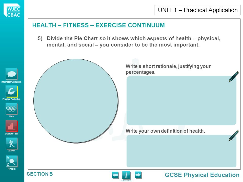 Information/Discussion Practical Application Links Diagram/Table Activity Revision GCSE Physical Education HEALTH – FITNESS – EXERCISE CONTINUUM MAIN MENU SECTION B To show knowledge and understanding of the factors affecting performance, participation and provision in sporting and health issues e.g.