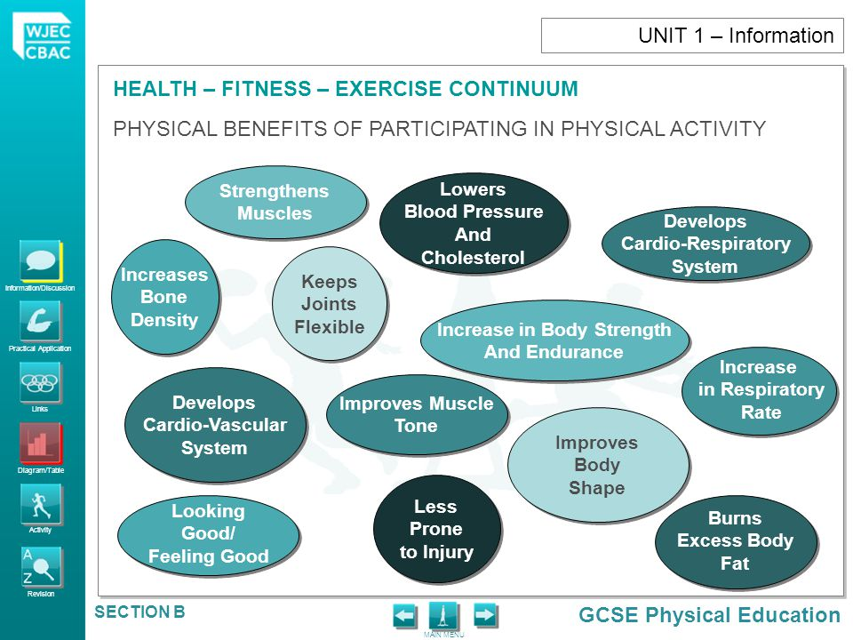 Information/Discussion Practical Application Links Diagram/Table Activity Revision GCSE Physical Education HEALTH – FITNESS – EXERCISE CONTINUUM MAIN MENU SECTION B Diseases that develop partly due to insufficient exercise Type 2 diabetes Cardiovascular Diseases Hypertension Cholesterol levels Angina Atherosclerosis Thrombosis Certain cancers Obesity Anxiety related disorders Back pain and osteoporosis UNIT 1 – Information