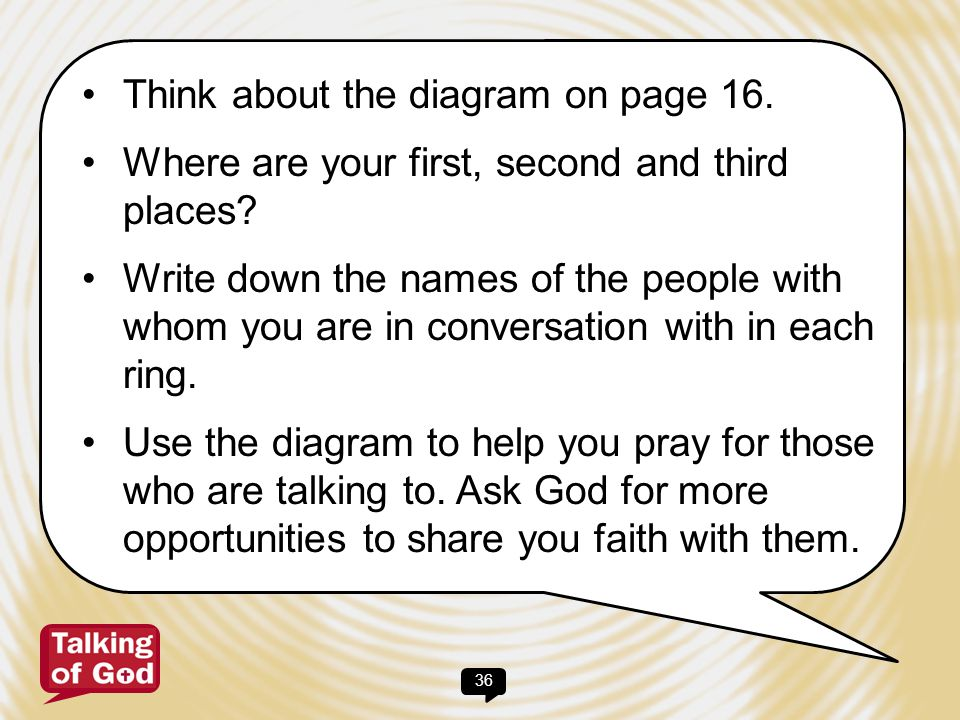 37 For Conversation (D) We need to provide safe and loving places in which to share honestly the deepest concerns and questions of our lives. Time to Talk of God, p.