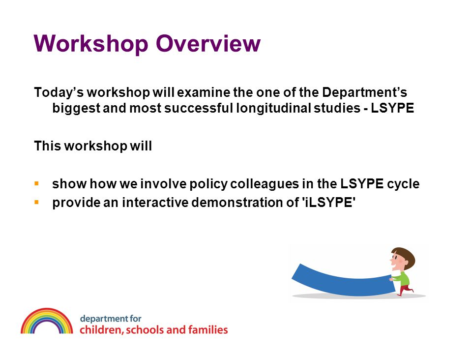 Introducing the Longitudinal Study of Young People in England (LSYPE)  Large-scale cohort study tracking over 15,000 young people and their parents  Annual interviews from age 13/14 (Year 9)- cohort currently aged 19/20  Over sampled FSM households & ethnic minorities to ensure good representation  Further EM boost from wave 4 (age 16/17)