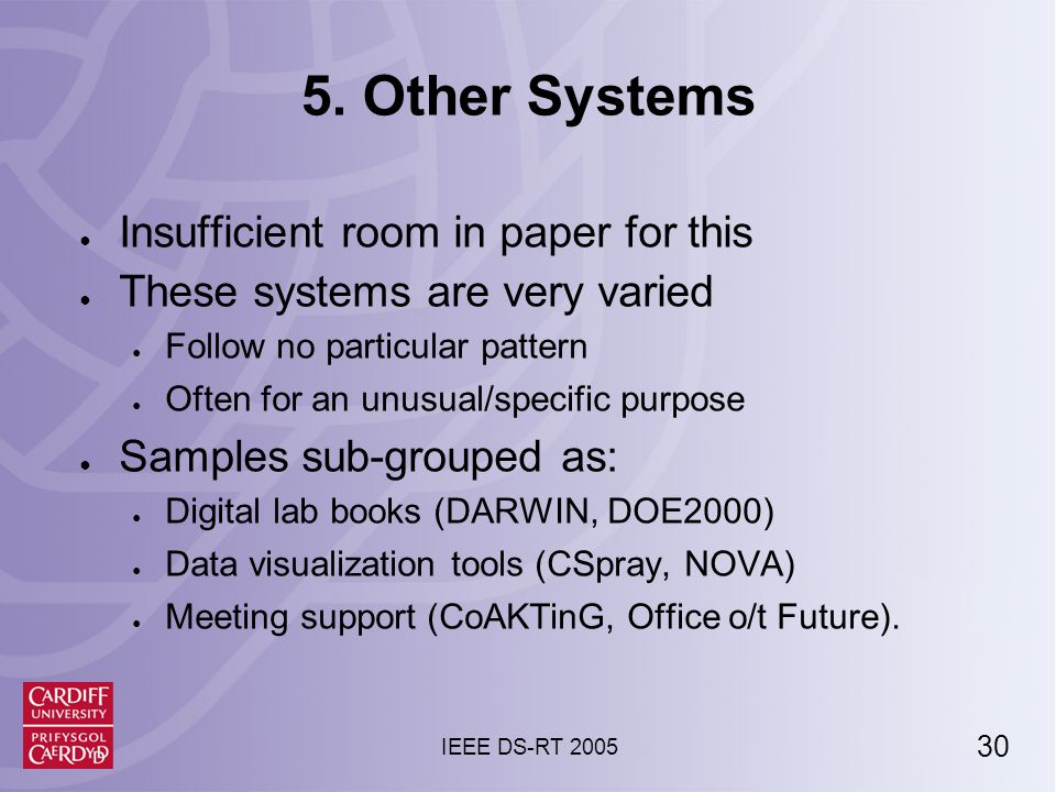 31 IEEE DS-RT 2005 Collaborative PSEs: Defining Attributes ● Defining attributes: ● Users often assume trust ● Scientists can't collaborate without this.