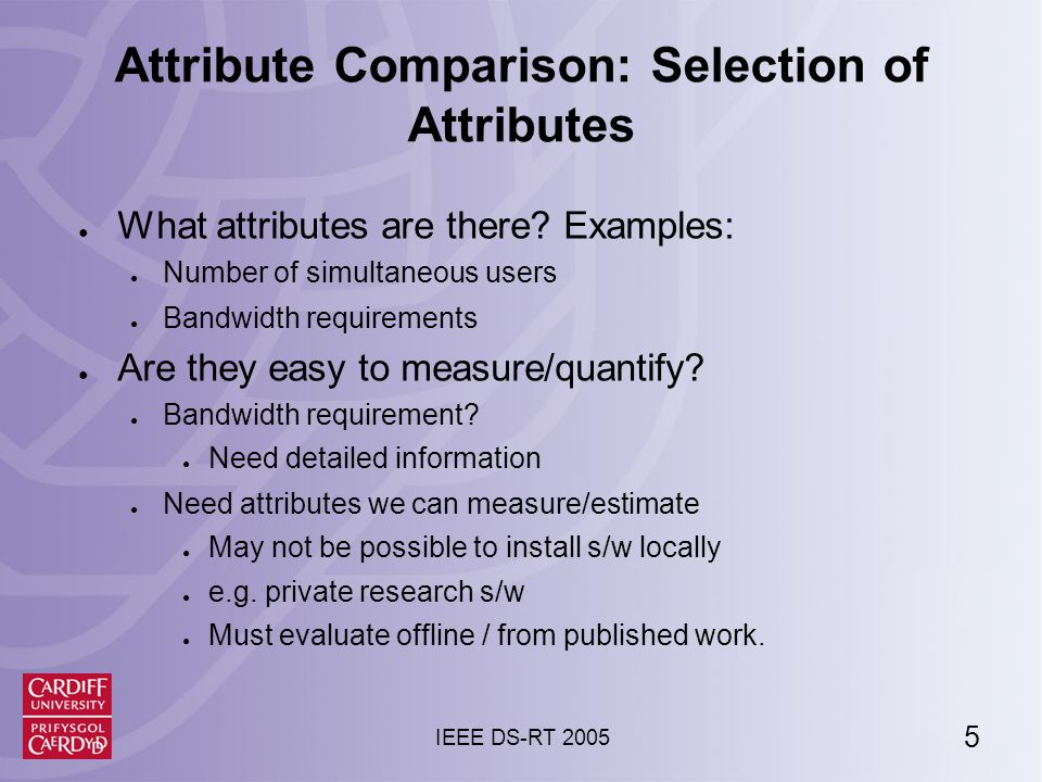 6 IEEE DS-RT 2005 Selected Attributes 1.Number of simultaneous users ● 1, 10, 100… 2.