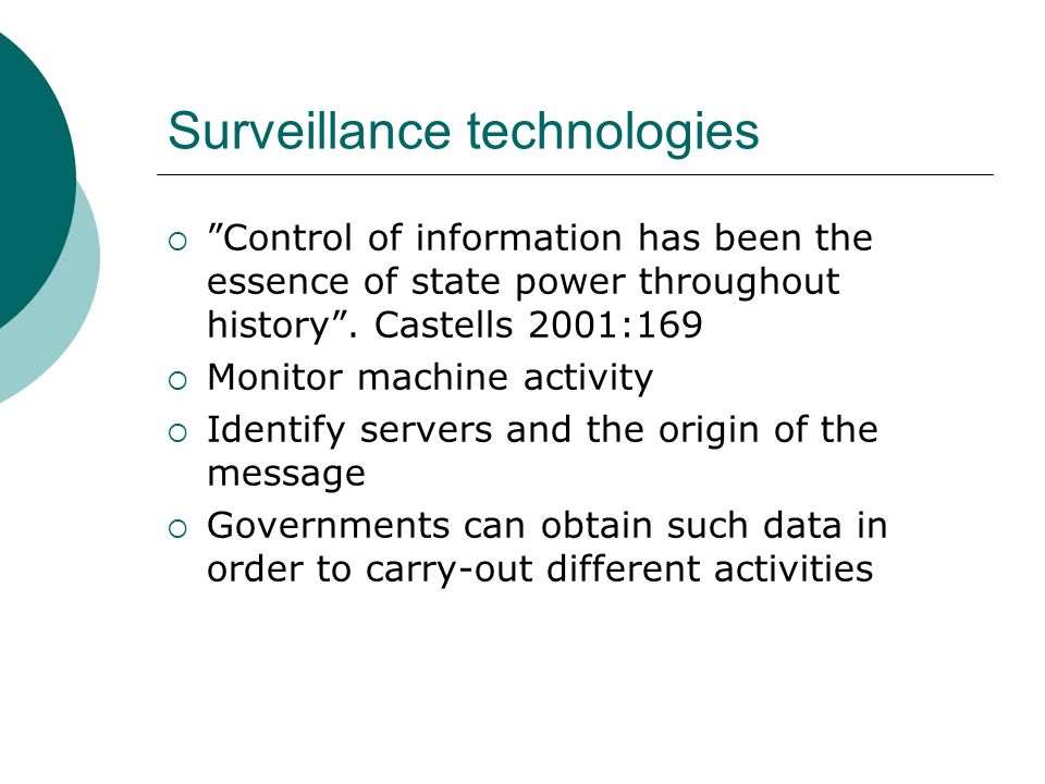 End of privacy  Surveillance at the workplace  Surveillance by government authorities