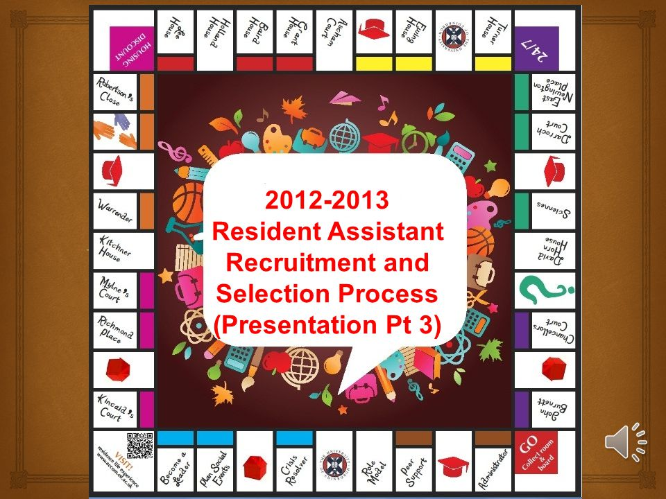 2012-2013 Resident Assistant Recruitment and Selection Process (Presentation Pt 3)