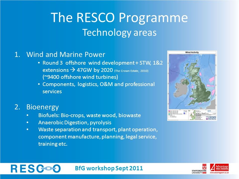 The RESCO Programme Technology areas 3.Small Scale Renewables Solar thermal, PV, GSHP and ASHP, small scale wind and hydro, micro CHP.