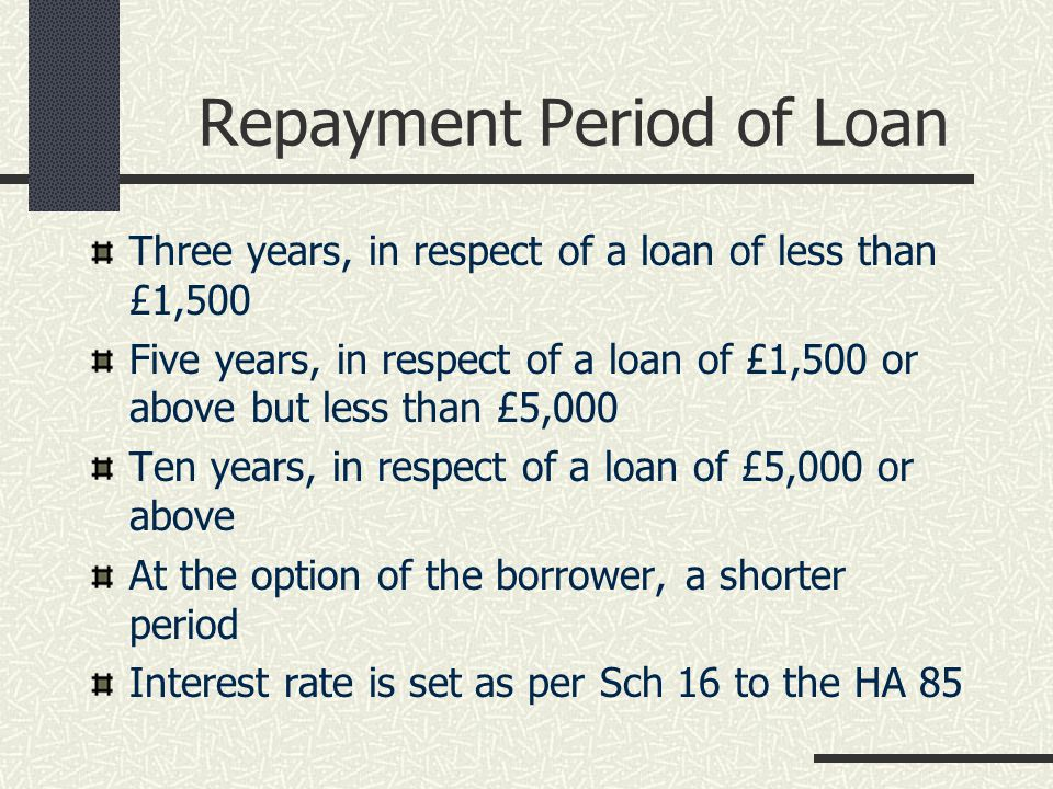 Repayment Period of Loan Three years, in respect of a loan of less than £1,500 Five years, in respect of a loan of £1,500 or above but less than £5,000 Ten years, in respect of a loan of £5,000 or above At the option of the borrower, a shorter period Interest rate is set as per Sch 16 to the HA 85