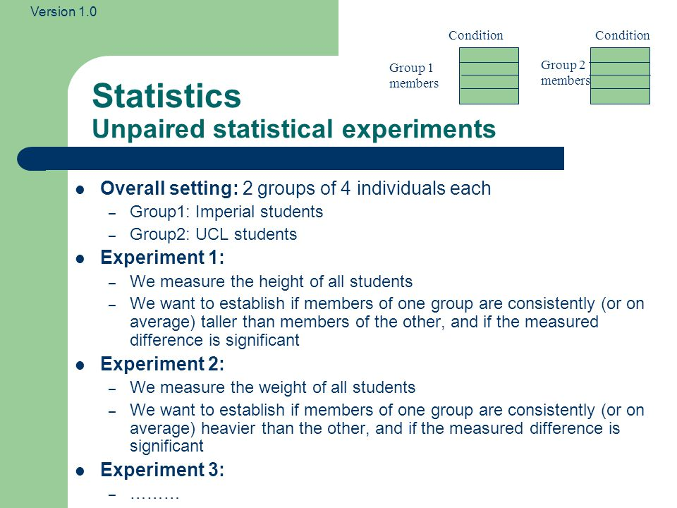 Version 1.0 Statistics Unpaired statistical experiments In unpaired experiments, you typically have two groups of people that are not related to one another, and measure some property for each member of each group e.g.