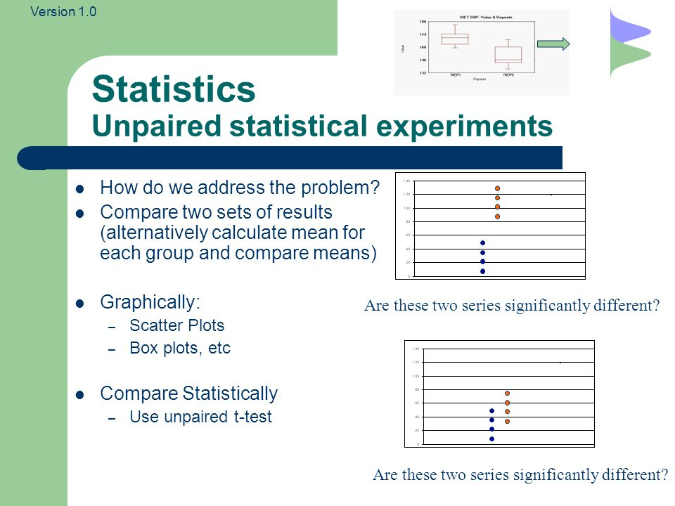 Version 1.0 Statistics Paired statistical experiments In paired experiments, you typically have one group of people, you typically measure some property for each member before and after a particular event (so measurement come in pairs of before and after) e.g.
