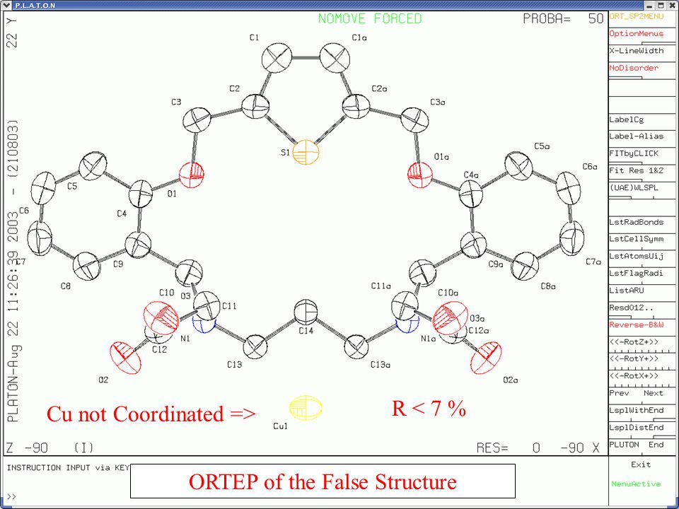 Ortep of the Correct Structure R < 6 %