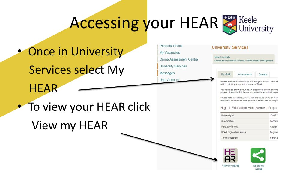 Sharing your HEAR You can share your HEAR by clicking on Share my HEAR which will send an electronic token via email