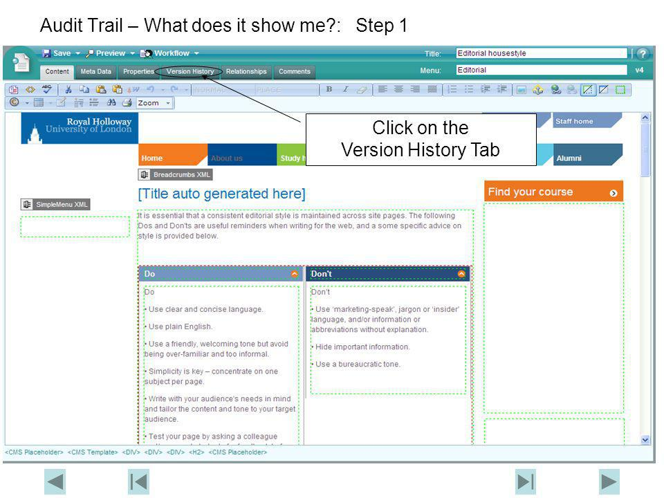 Audit Trail – What does it show me?: Step 2 Click on the Audit button
