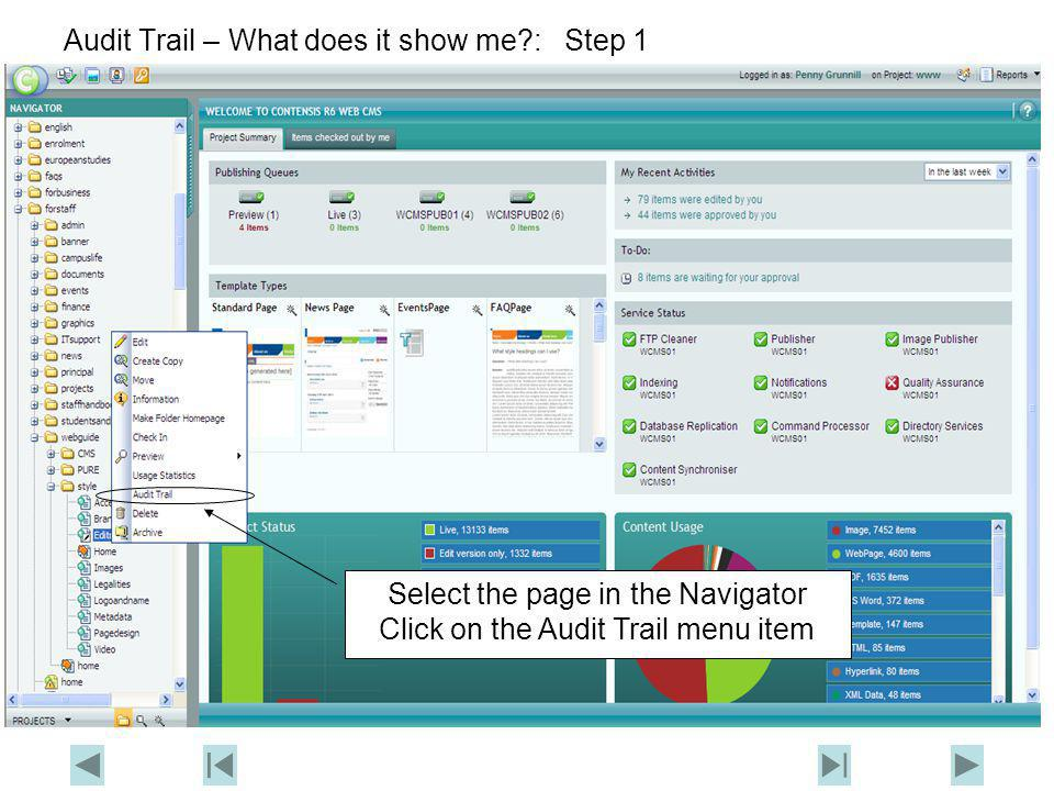 Audit Trail – What does it show me?: Step 2 Click here to end the demo