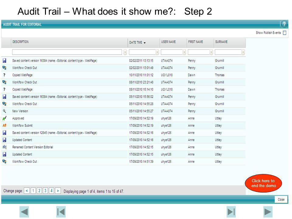 Contensis Training Audit Trail – What does it show me (show me again) Return to Contensis FAQ's