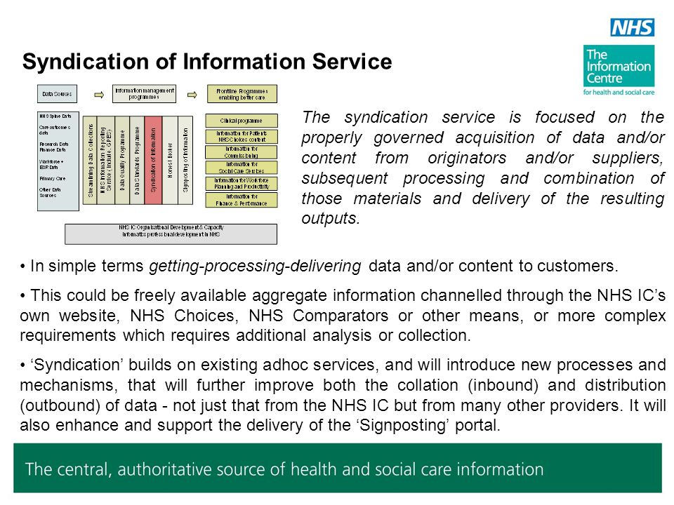 Honest Broker Service The NHS IC is to set up two secure functions: A compliance unit, which will create the policies to which the system has to conform, accredit compliance criteria and then police participants on their adherence to the terms of their accreditation.