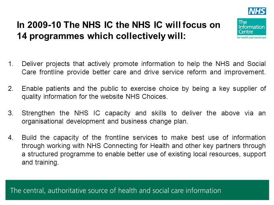 2009/10 NHSIC Programmes Data Sources Information for Commissioning Clinical programme Information for Finance & Performance Information for Workforce Planning and Productivity Information for Social Care Services Information for Patients NHS Choices content NHS Information Reporting Service ( include.