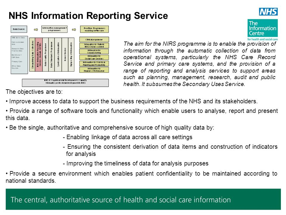 Data Quality Programme The NHS IC is initiating a wide-ranging Data Quality programme to tackle the concerns regarding the quality of health and social care data, and its fitness for purpose.