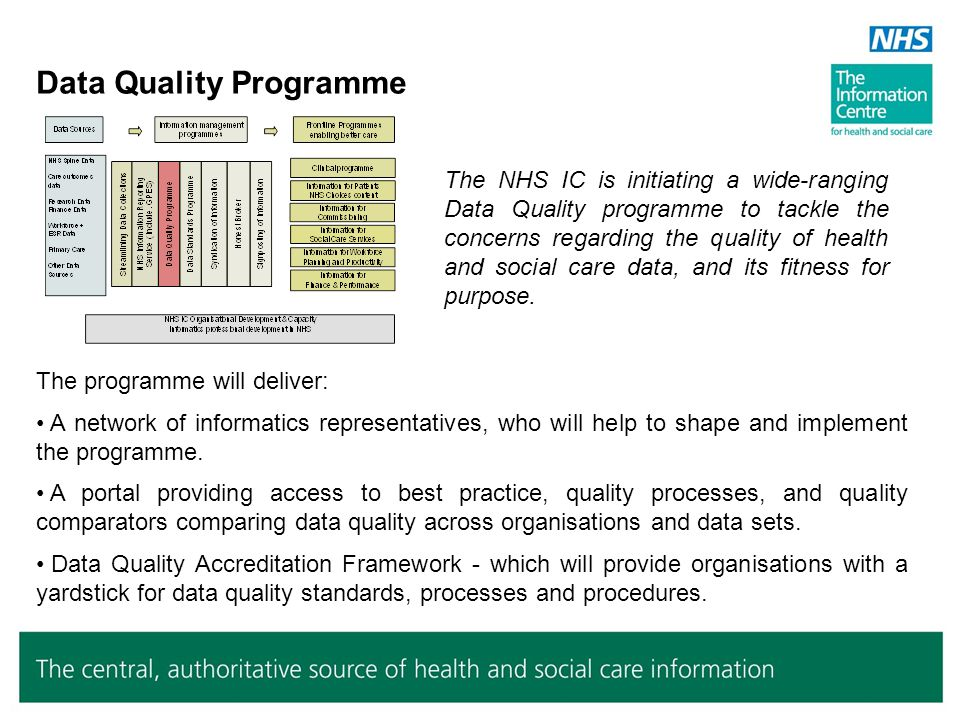 Informatics Data Standards Programme The NHS IC is jointly leading with NHS CFH a wide-ranging programme to update and improve health and social care data standards, in particular to focus on care quality using patient-centred information and meeting current national policy needs.