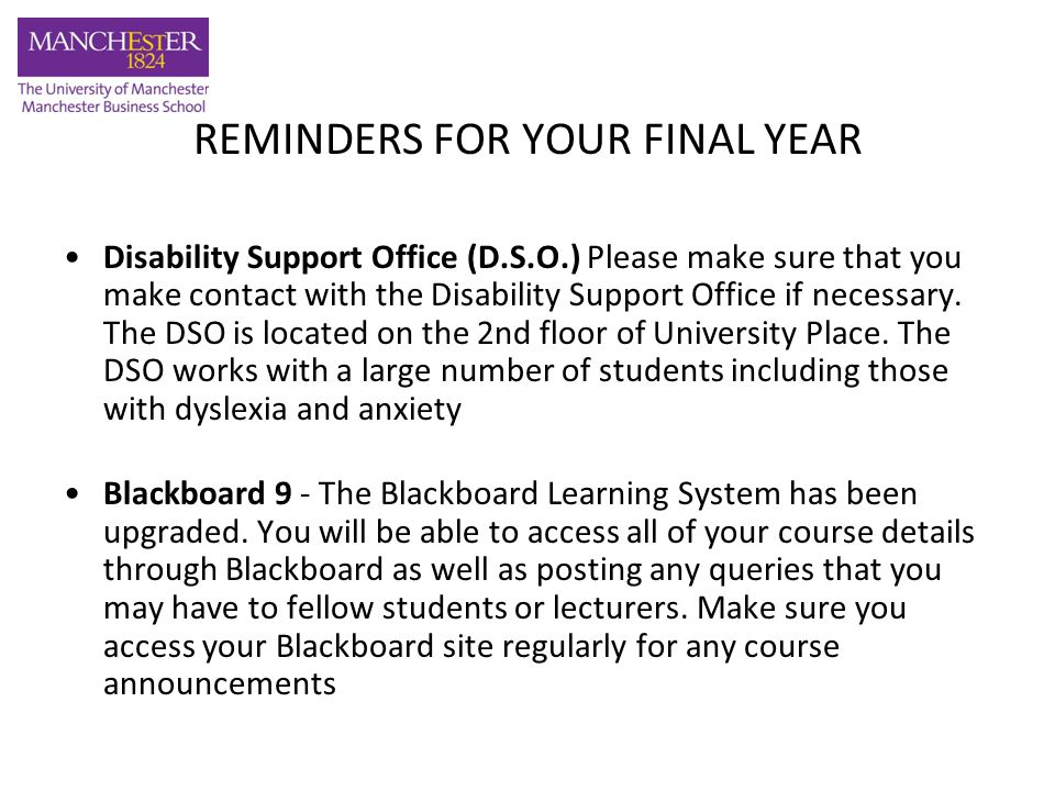 REMINDERS FOR YOUR FINAL YEAR E-bulletin - The e-Bulletin will serve as our way of communicating relevant and important information to you and through it MBS responds to any feedback received from you.