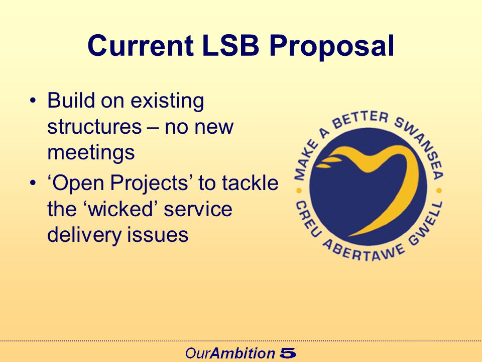 Current LSB Proposal Service Delivery Issues included in the Community Strategy 2 or 3 of the 'open projects' will be prioritised and included in Swansea's Local Delivery Agreement