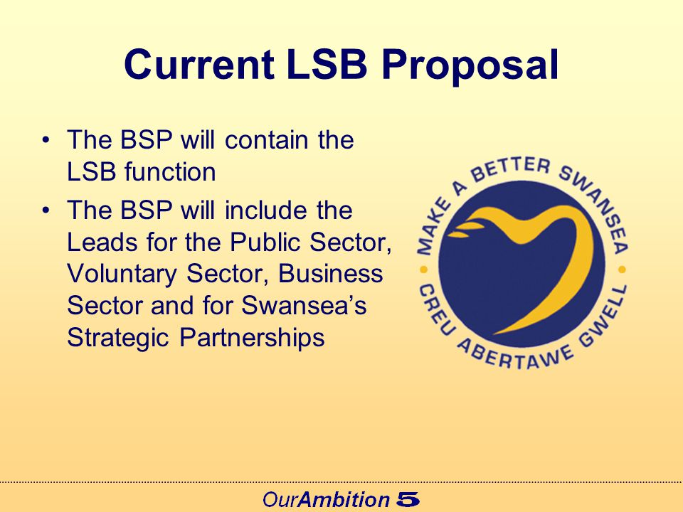 Current LSB Proposal 'Public Service Leaders' will have roles written into their job descriptions Existing governance and accountability will be strengthened by linking the projects to specific Scrutiny Boards