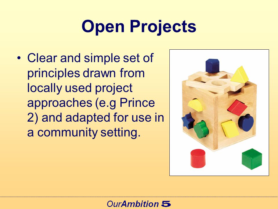 Citizens at the Centre All Open projects will: Be designed to achieve benefits for Citizens Build on available evidence and consultation Undertake additional work to engage citizens Work in partnership with community groups