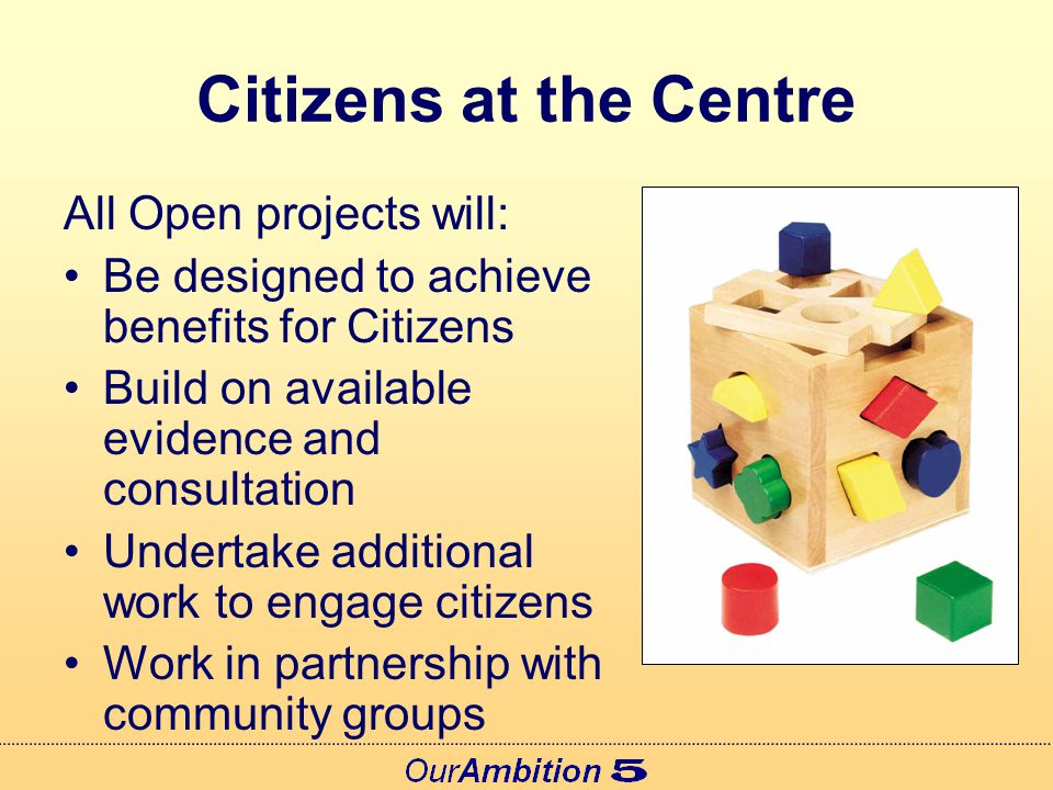 Governance Each Open Project will: Be sponsored by a 'Public Service Leader' Be project managed through a lead partnership Consult effectively with local Councillors