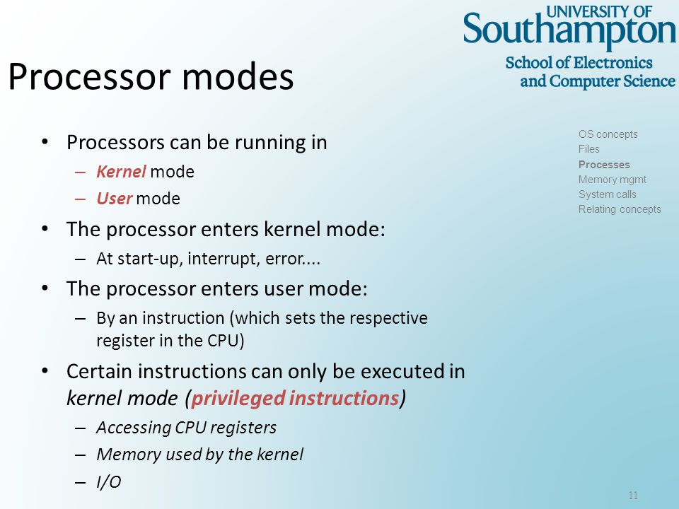 Kernel mode-User mode in Win NT 12 OS concepts Files Processes Memory mgmt System calls Relating concepts SOURCE: support.novell.com