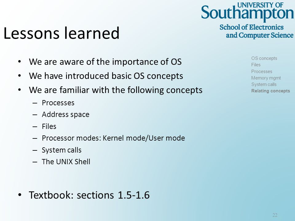 next OS lectures: How can we deal with system resources competing for CPU and Memory.