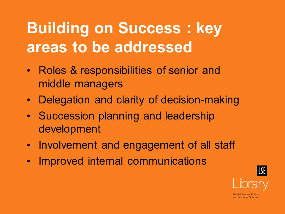 Initial actions Senior team re-named Library Leadership Team Explanation of programme to library staff First-ever awayday for all library staff (150 individuals) organised by a Design Team representative of all teams & grades