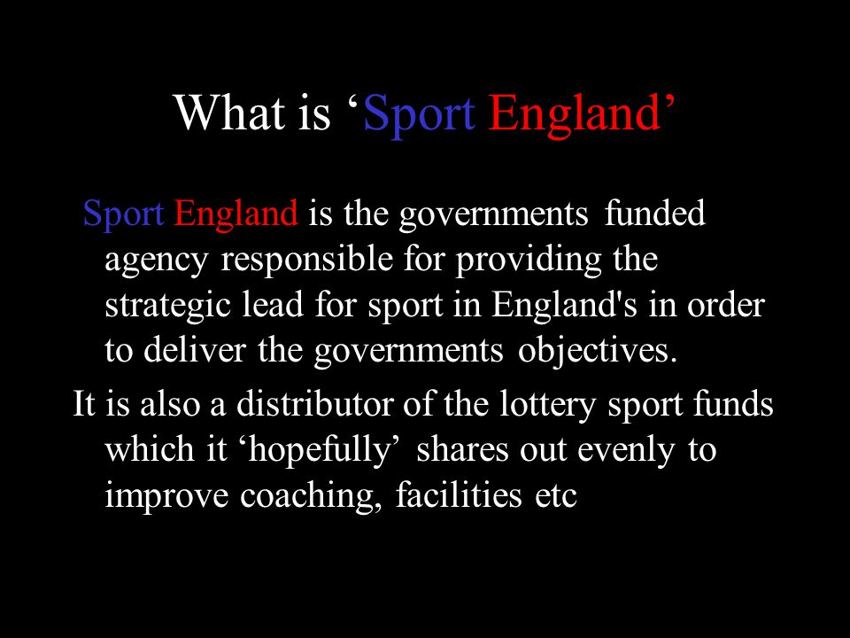 Sport England s mission is to make England an active and successful sporting nation