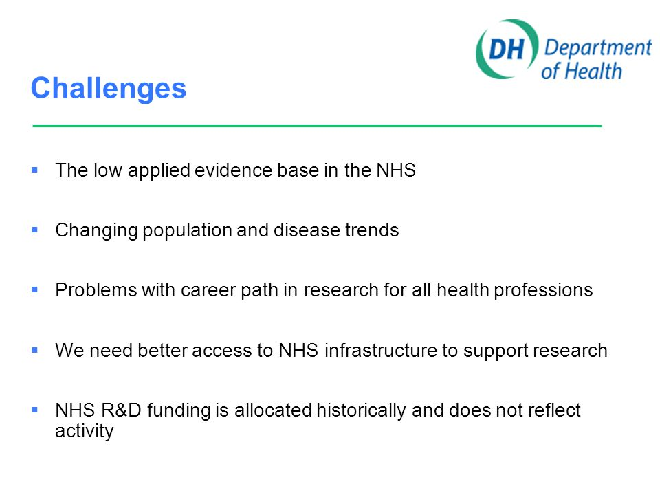 Challenges  The low applied evidence base in the NHS  Changing population and disease trends  Problems with career path in research for all health professions  We need better access to NHS infrastructure to support research  NHS R&D funding is allocated historically and does not reflect activity  The increasing evidence that NHS management is now the bureaucratic block to clinical research