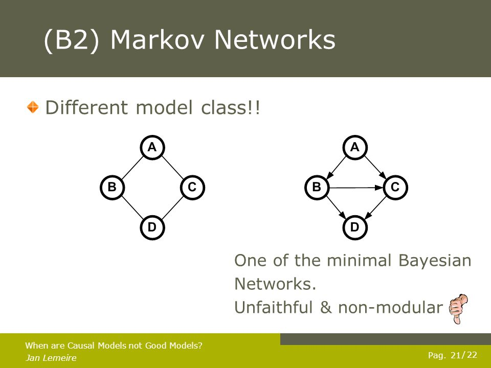Pag.Jan Lemeire / 22 22 When are Causal Models not Good Models.