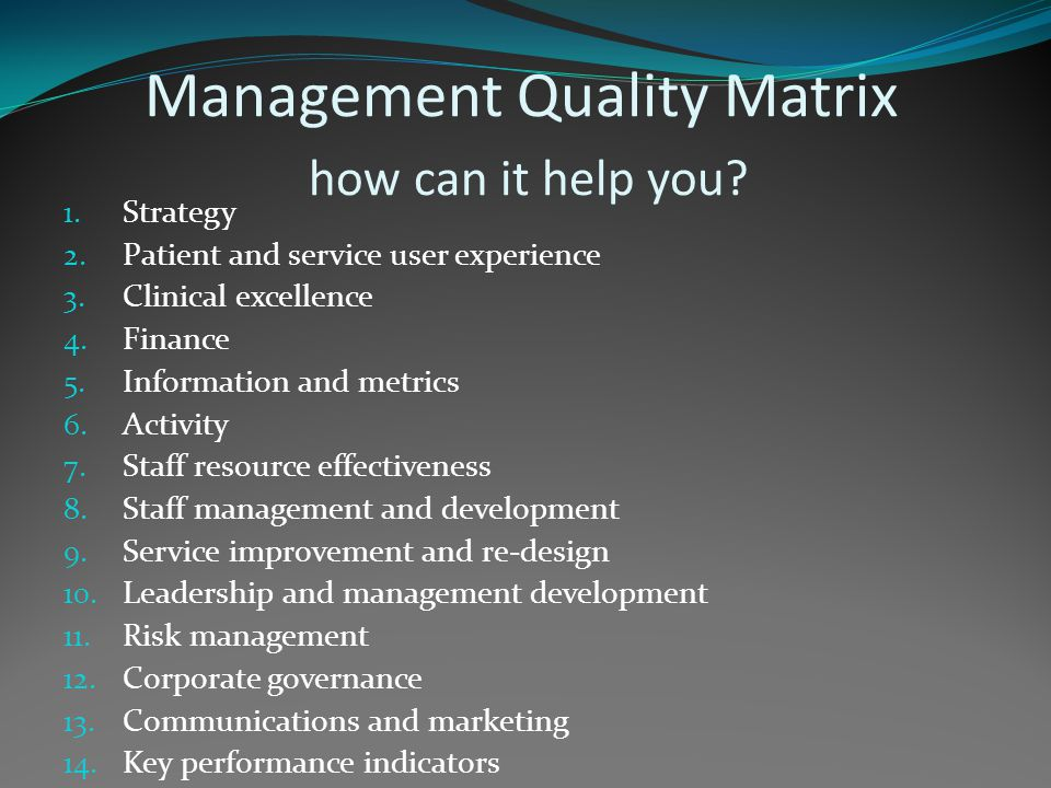 Management Quality in the AHPs Key concepts of Management Quality Impact on AHPs Where does it come from.