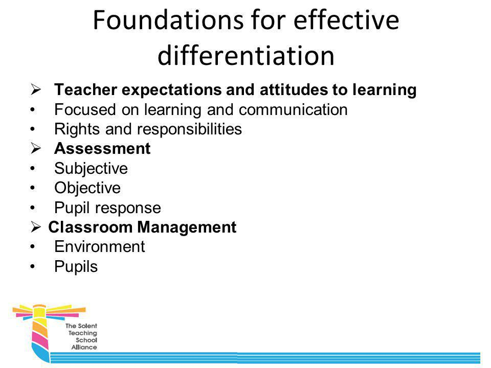 Activity 2 Reflect upon the foundations for effective differentiation.