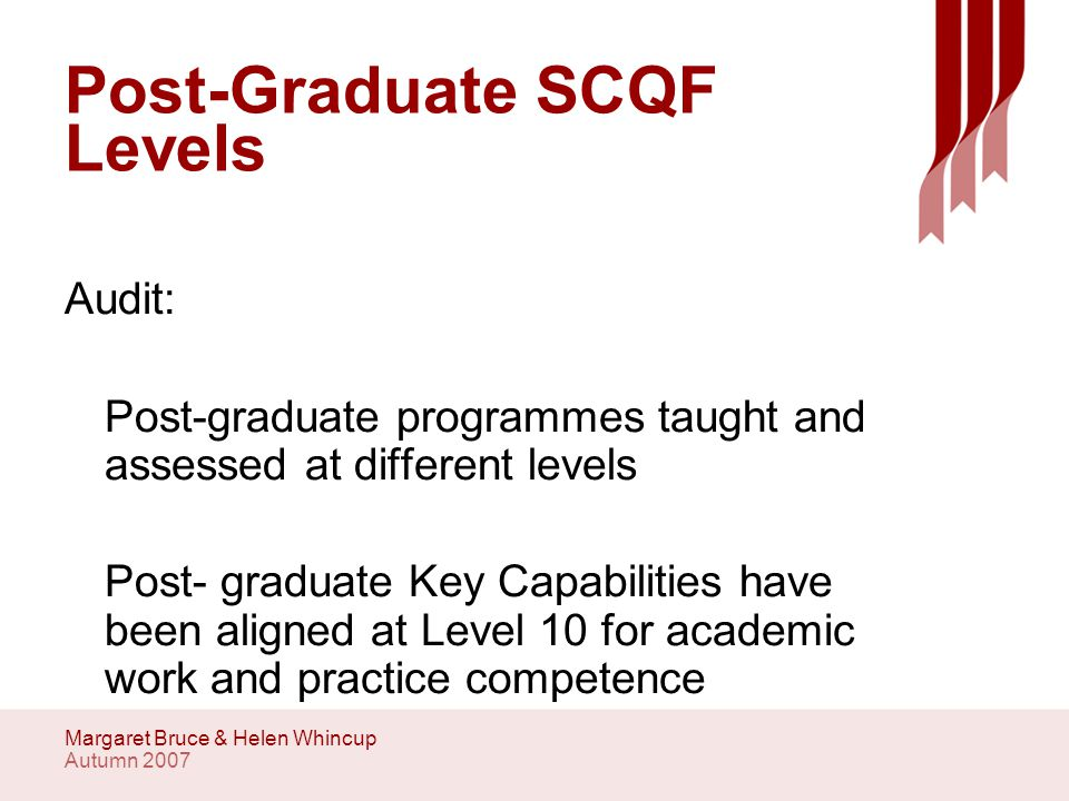 Autumn 2007 Margaret Bruce & Helen Whincup SCQF levels Level 9 SCQF identify and analyse routine professional problems and issues Level 10 SCQF offer professional level insights, interpretations and solutions to problems and issues.