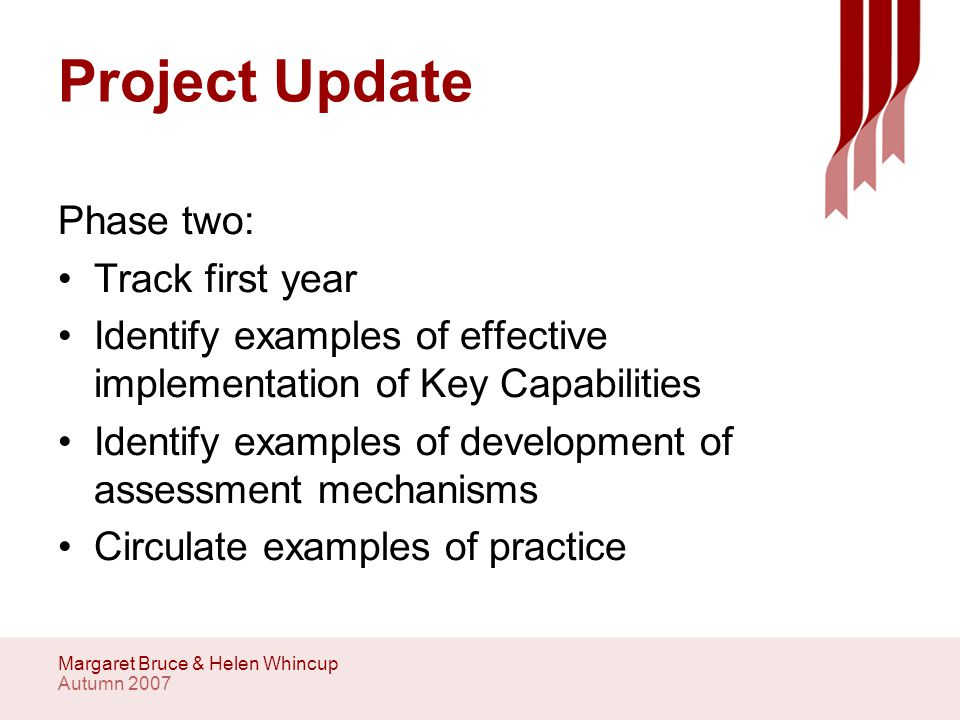 Autumn 2007 Margaret Bruce & Helen Whincup Project update Survey Specific events Series of workshops in September and October with key stake holders Online practice examples Initial evaluation of embedding process