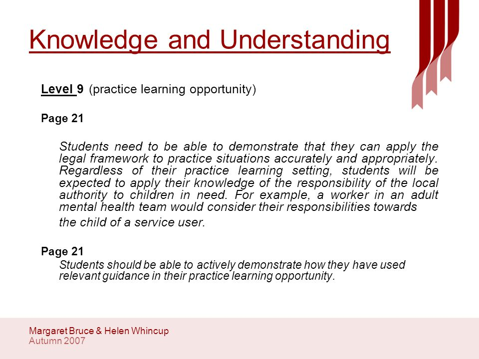 Autumn 2007 Margaret Bruce & Helen Whincup Values and Ethical Practice Level 10 (PLO) Students need to be aware that their professional assessment of a child's needs may be in conflict with that of the agency providing their practice learning opportunity.