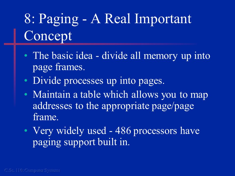 1 23 8: Paging.. How It Works Process A Memory