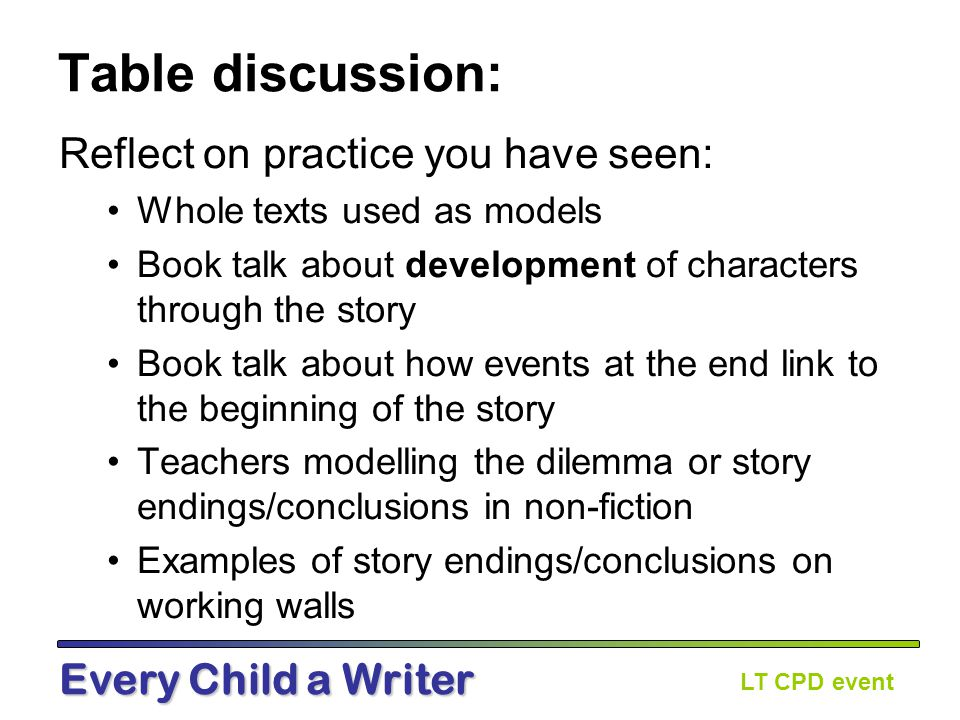LT CPD event Every Child a Writer Issues and Dilemmas Forum post from ECaW teacher: Hello, I am planning this unit for a year 3/4 mixed class for the first time.
