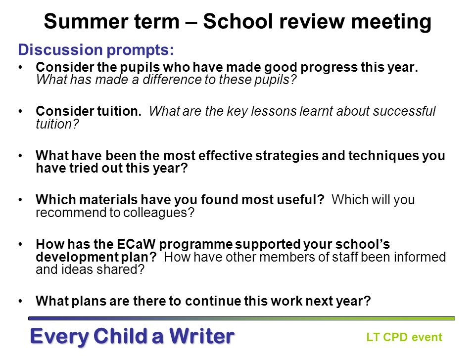 LT CPD event Every Child a Writer Next steps for schools.